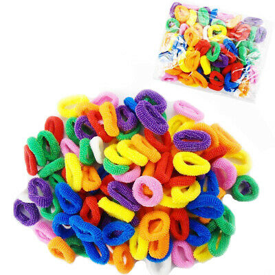 100x Mini Baby Girl Kids Mini Hair Elastics Bobbles Soft Bands Snag Free Colors