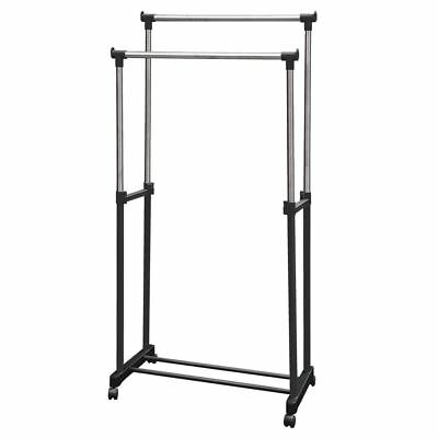 Double Garment Rack Adjustable Portable Clothes Hanger Silver Stand Rail
