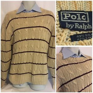 2720ea50b5bd00 Polo Ralph Lauren Men's Silk Linen Cotton Blend Sweater Beige stripe ...
