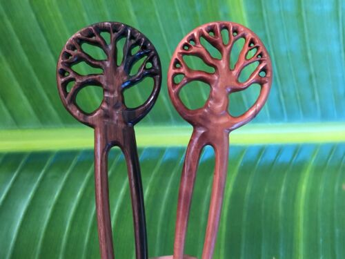 2 Prong Carved CELTIC TREE  OF LIFE  Wooden Wood Hair Fork//Pin//Pick Handmade