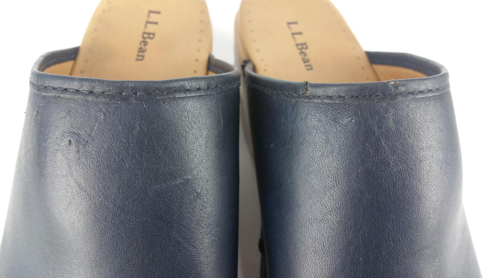 LL Bean Navy Blau Wood Clogs damen 11 M Slipper Slipper Slipper Slip On schuhe Leather Mule 6175 8695f9