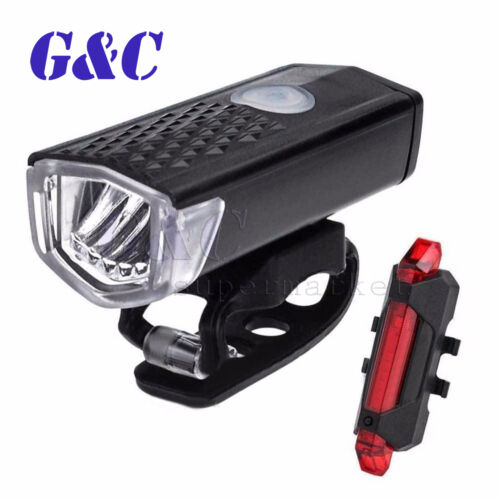 USB Rechargeable Bike Set Bicycle LED Head Front Light /& Rear Tail Lamp