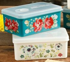 Pioneer Woman Flea Market 17 Oz Food Container TWO NEW Mod Vintage Geo Happiness