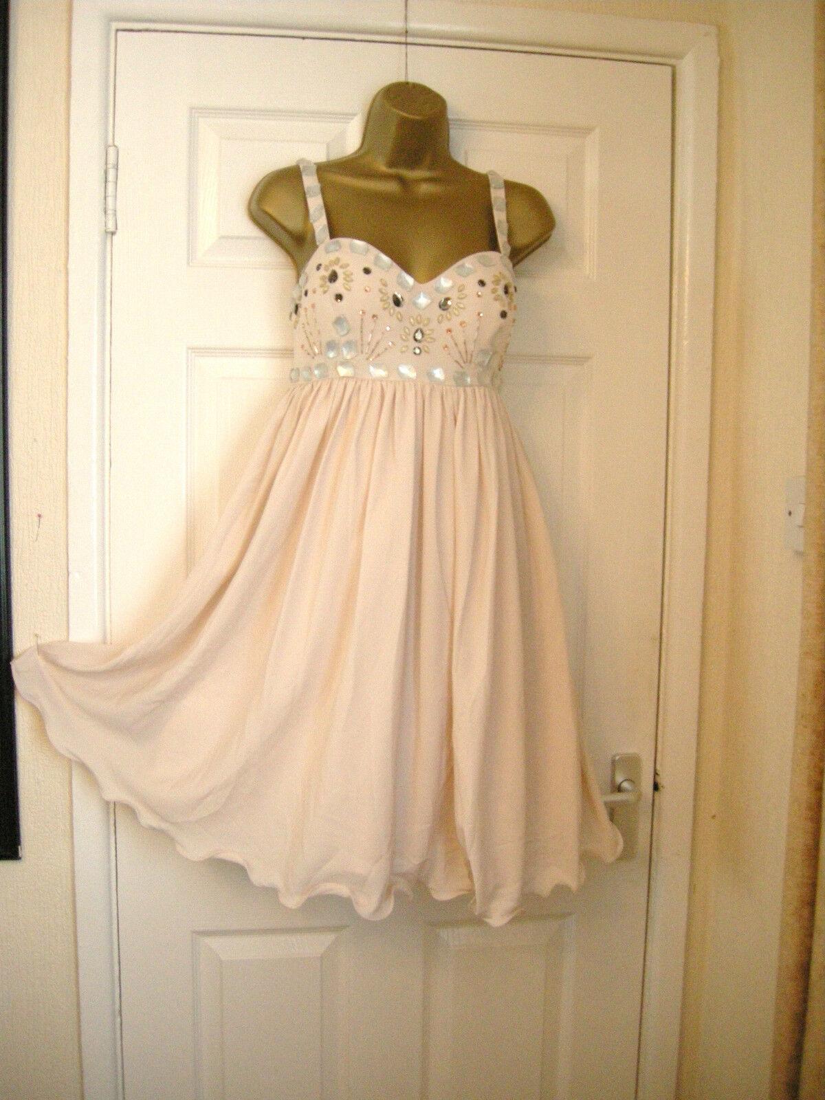 10 RARE OPULENCE BABYDOLL NUDE EMBELLISHED MINI DRESS PARTY WEDDING HOLIDAY