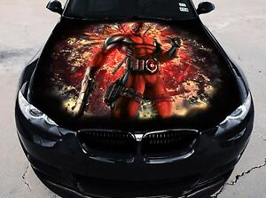 Vinyl Car Hood Full Color Graphics Decal Deadpool Sticker EBay - Custom vinyl car hood decals