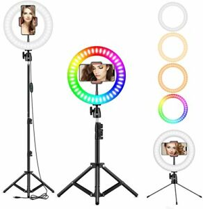 10-034-RGB-Selfie-Ring-Light-LED-Ringlight-3200-6500K-with-Tripod-Stand-amp-Cell