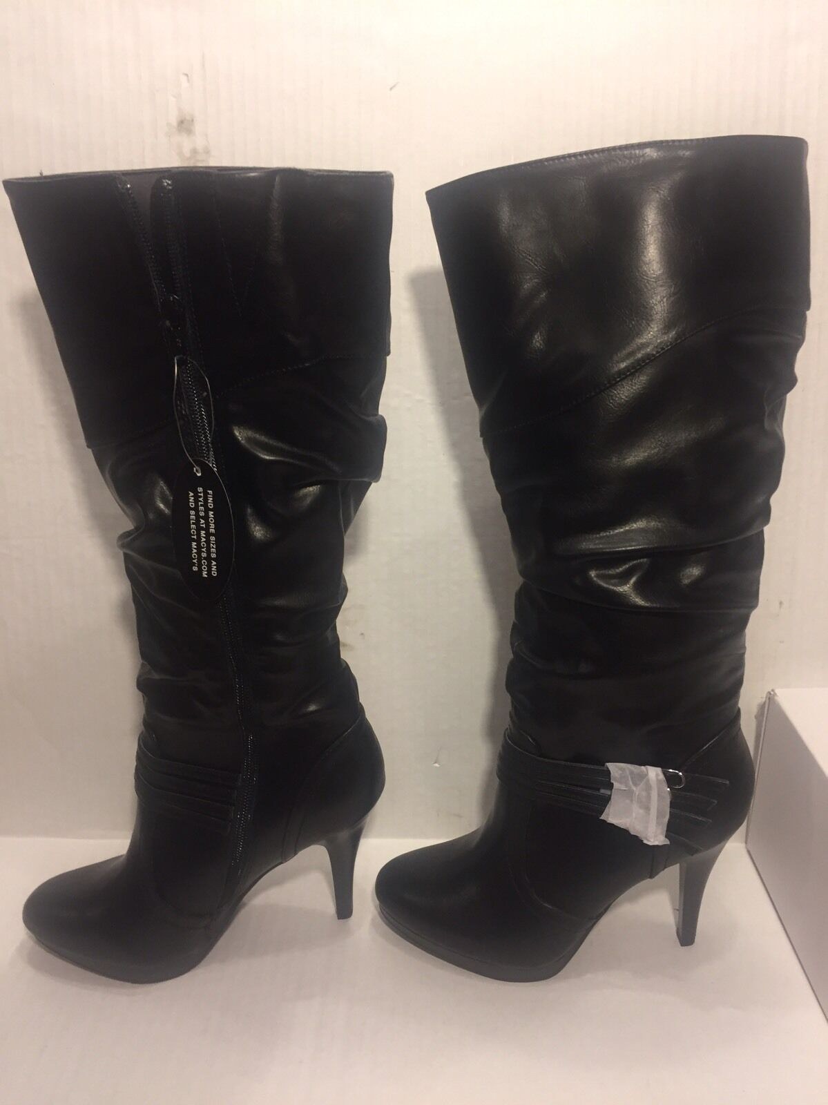 Brand-New Style & Co Lindus Boots 7-1/2 M WC, WC, M Heels, Black, Zipper 57d26b