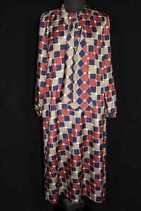 VINTAGE-FRENCH-1980-039-S-RUST-BLUE-AND-TAUPE-POLY-PRINT-DRESS-SIZE-12-14