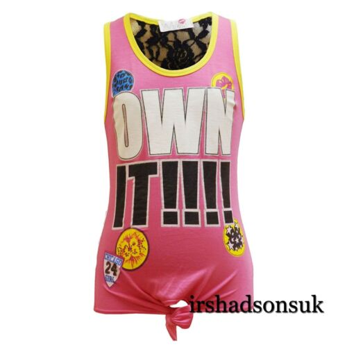 Kids Girls OWN IT !! Print Multi Color Fashion Stylish Vest Top T Shirt 7-13 Yr