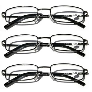 9d8fc4a99446 Image is loading 3-Pairs-Slim-Metal-Rectangular-Reading-Glasses-Spring-