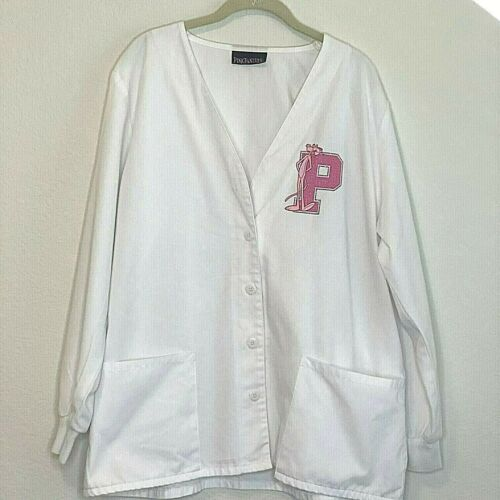 Pink Panther Womens White Lab Jacket Scrubs Embell