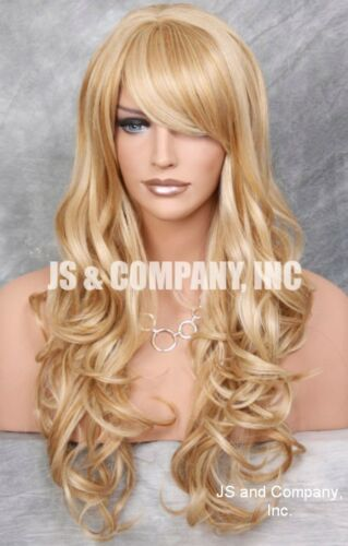 Human Hair Blend Blonde Mix Long Heat Safe Curly Layered wty wig 24-613