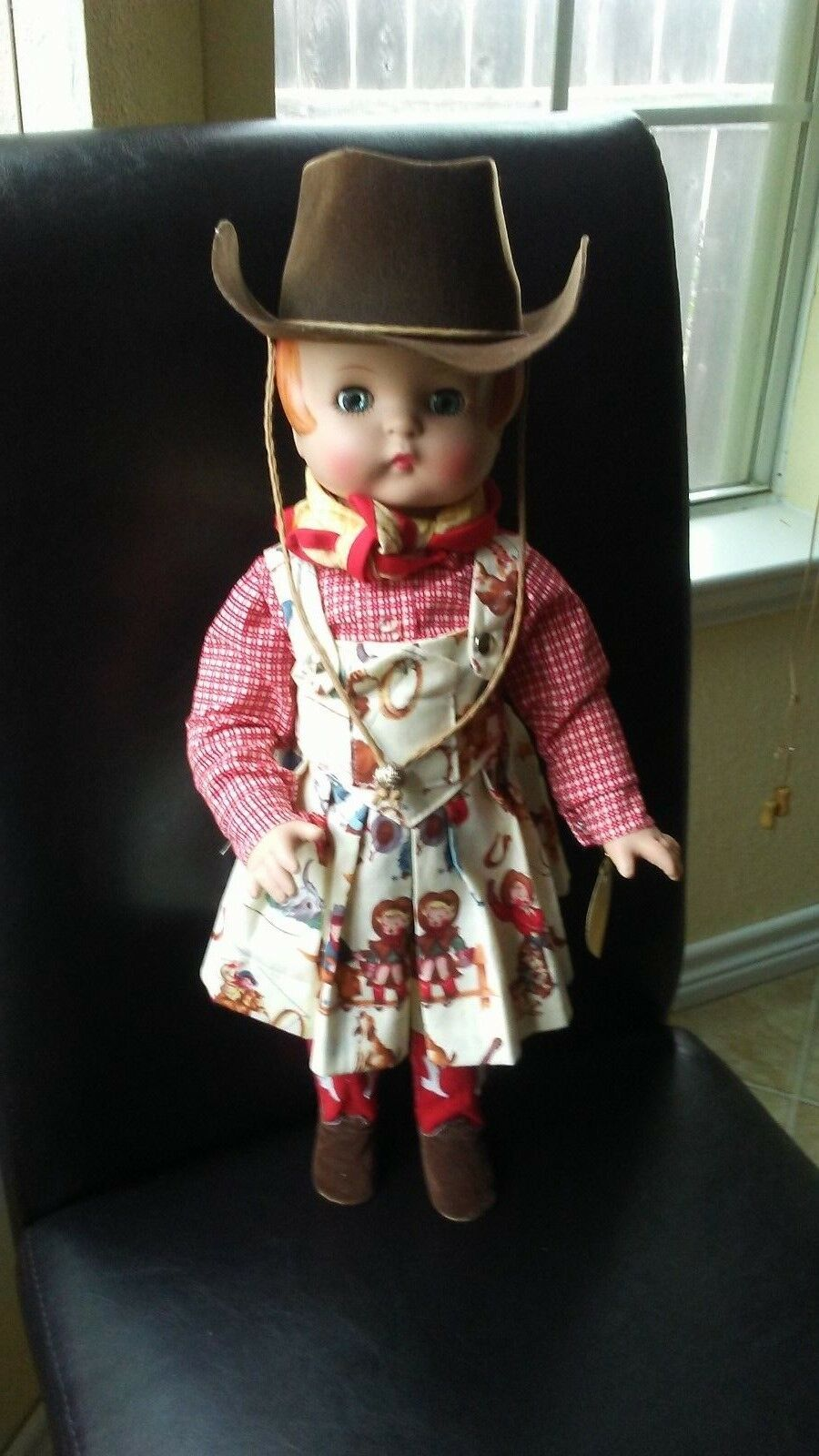 Rare Vintage 18  Effanbee Cowgirl Doll with a cute  Stick  Riding Horse