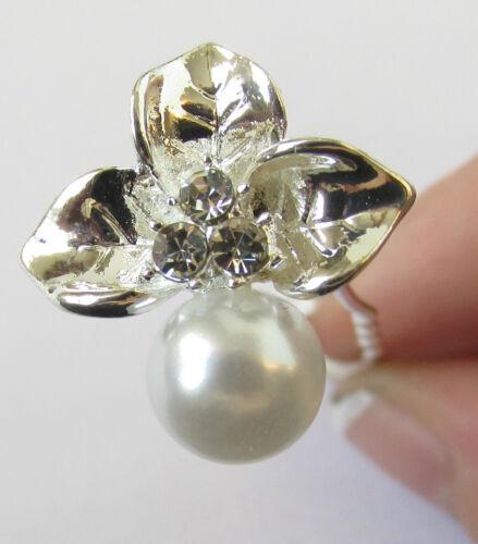 5 x Silver Orchid Flower Pearl Hair Pins Rhinestone Bridal Clips White Vtg S88