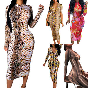Womens-V-Neck-Bodycon-Stretch-Printed-Cocktail-Ladies-Party-Pencil-Midi-Dress-US