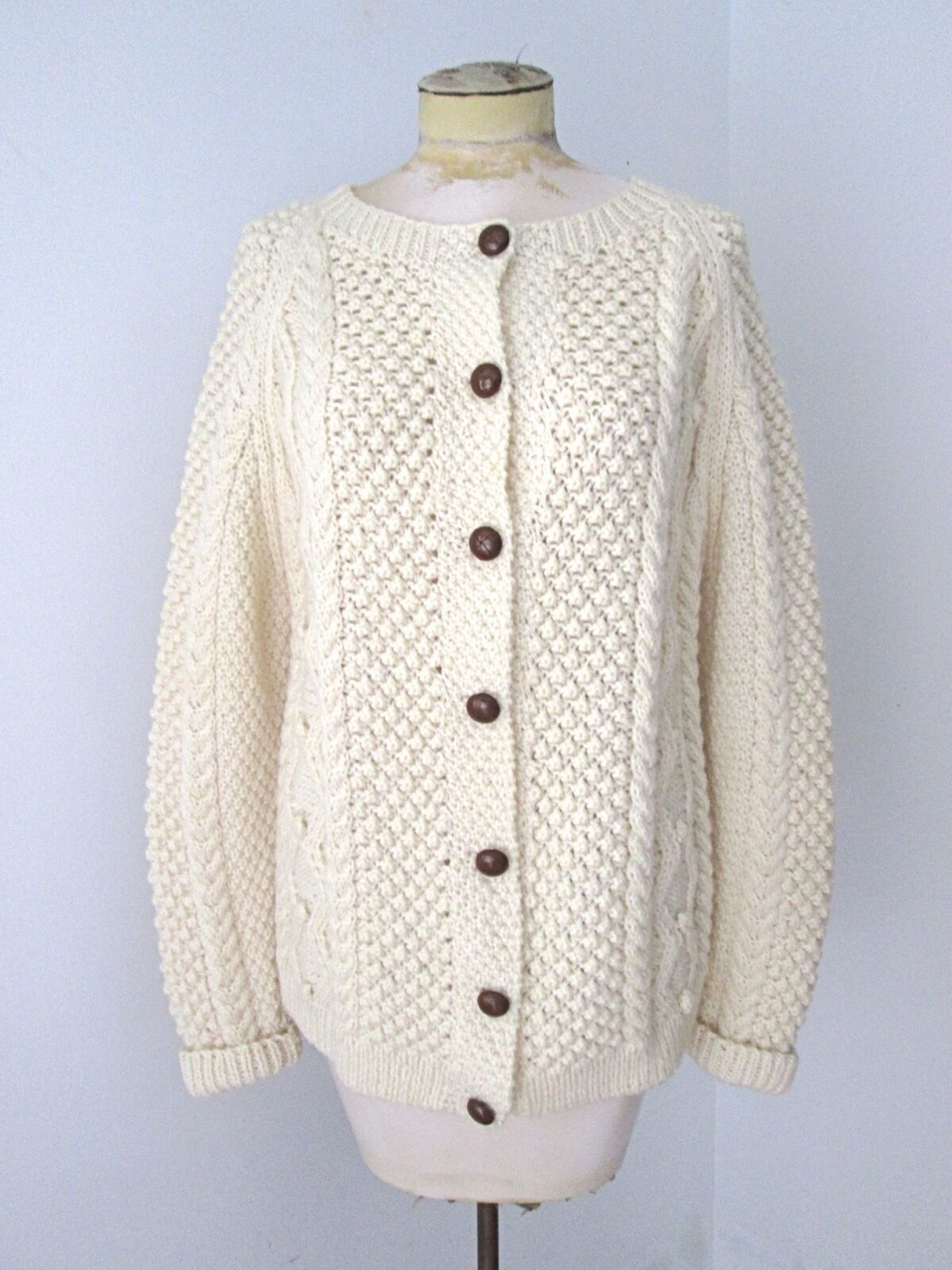 VGC Ivory Wool Aran Fisherman Heavy Chunky Cardigan Sweater M