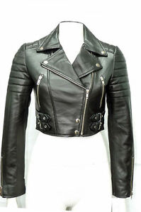 a16c3689c405 Missy Pour Femmes Noir Court Court Motard Punk Gothique Veste Cuir ...