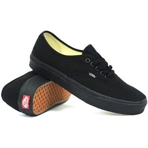Image is loading Vans-Authentic-Mens-Womens-Black-Canvas-Sneakers-Shoes- 421c5e380649