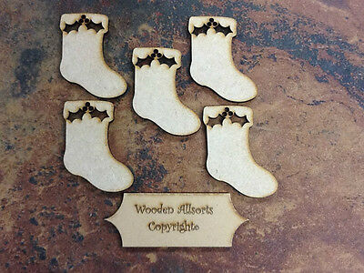 5x MDF Wooden Christmas Stocking Shapes for Craft, embellishments, tag