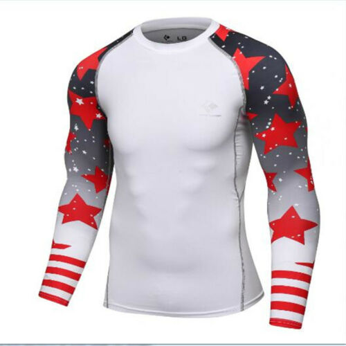 New Men/'s Compression Long Sleeve Top Tights Fitness Sports Base Layer T-shirts