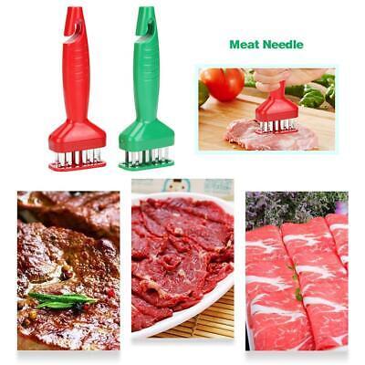 21-Stainless Steel Blade Meat Tenderizer Knives Steak Pork Needle Prongs Tool