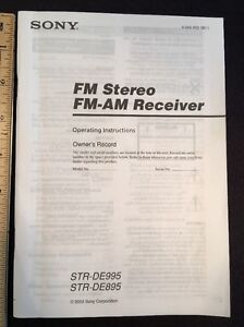 sony str de995 stereo receiver original owners manual 74 pages rh ebay co uk sony str de995 review sony str-de995 owners manual