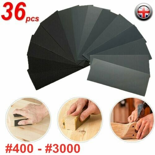 36Pcs Wet/&Dry Sandpaper Polishing Abrasive Waterproof Paper Sheets 400-3000 Grit