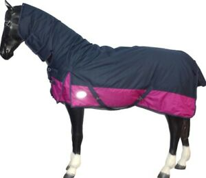 Rhinegold Aspen 350G Heavyweight Full Neck Combo Horse Turnout Rug in Navy//Red