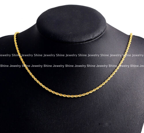 24K YELLOW GOLD GF MENS WOMENS 3MM TWIST ROPE SINGAPORE CHAIN NECKLACE GIFT 60CM