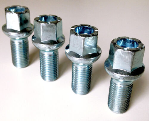 Rueda Pernos tuercas lengüetas M14 X 1.5 hilo de 27mm hexagonal de 17mm asiento de Radio X 4.