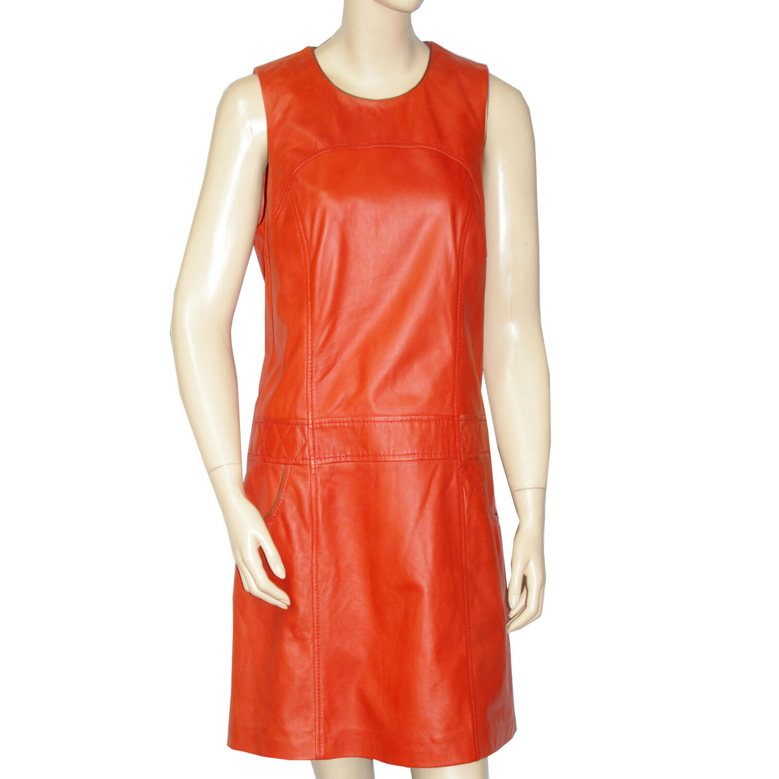 OAKWOOD Robe Robe Robe cuir agneau arancia Donna  leather dress Dimensione M 02c0a8