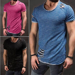 Ripped-Men-Tee-Shirt-Slim-Fit-O-Neck-Short-Sleeve-Muscle-Casual-Tops-T-Shirts