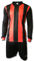Ichnos adult football soccer team kit uniform shirt shorts red black stripes