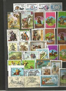 Chevaux Équitation Cavalier Sellos Stamps-afficher Le Titre D'origine Peut êTre à Plusieurs Reprises Replié.