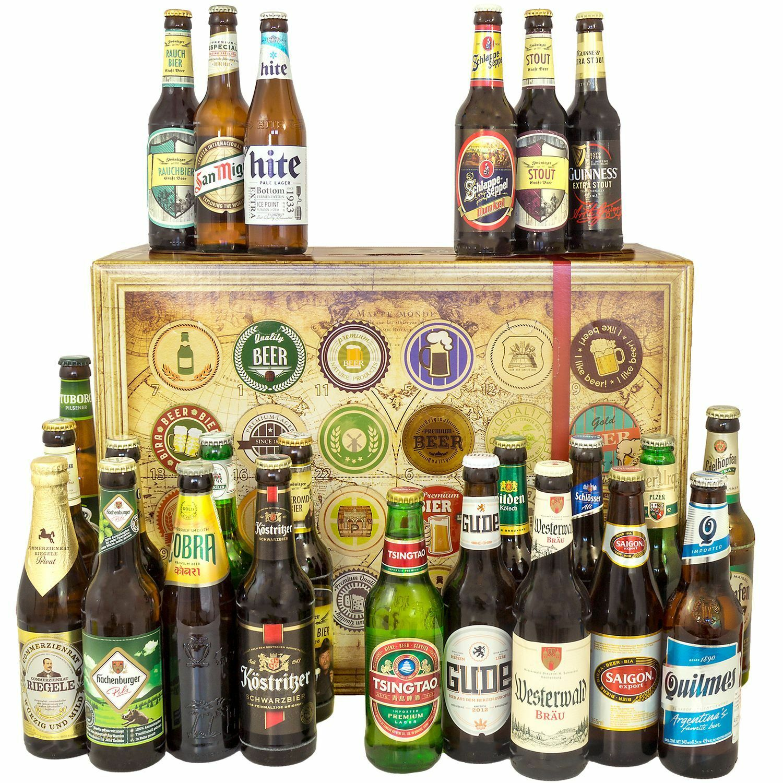 24 BESTE Biersorten aus aller Welt - lustige Bierbox für Männer Geschenkidee