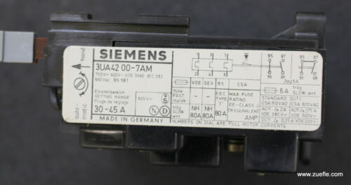 Details about  /Siemens Overload Relay Overload Relay 3UA4200-7AM 30-45A show original title