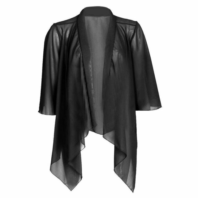 NEW WOMENS LADIES PLAIN CHIFFON KIMONO CARDIGAN SHRUG OPEN WATERFALL TOPS 8-22