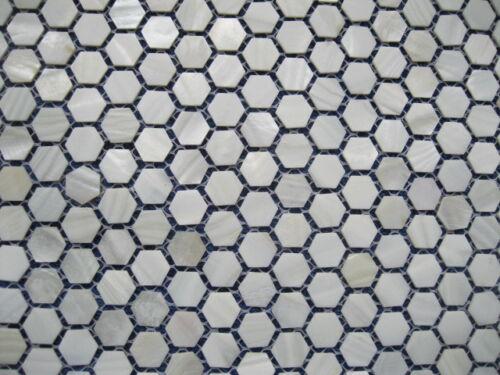 ECHT Perlmutt Hexagon,25 mm auf Matte 285x285 mm PERLMUTT weiß Mosaik Fliesen