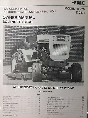Bolens FMC Husky HT-20 Lawn Garden Tractor Owners Manual 2087 Large Frame  19.9hp | eBayeBay