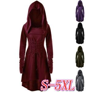 Medieval-Renaissance-Gothique-Femmes-Retro-Bandage-Lacets-a-Capuche-Costume-Robe