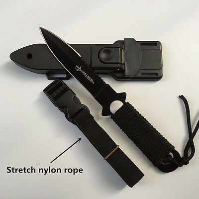 """Outdoor Military Utility Survival Hunting Tactical Black Throwing Dive 8"""" Knife"""