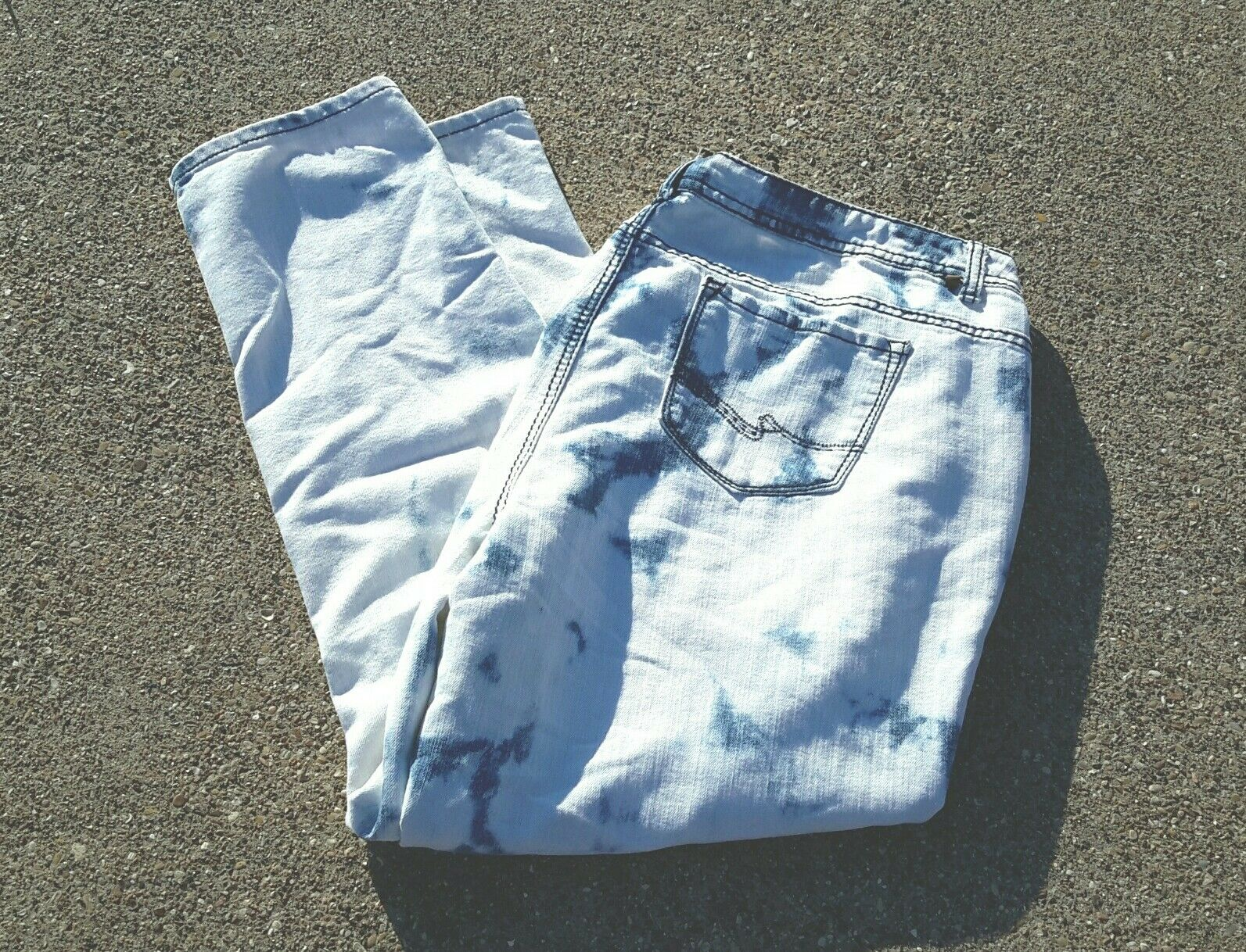 Almost Famous Plus Size Acid Wash High Waisted Jeans Shredded Cotton Spandex