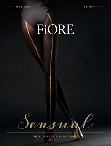 FIORE Colette Luxury Super Fine 60 Denier Decorative Metallic Patterned Tights