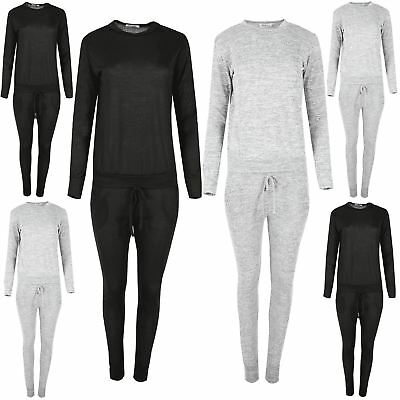 Ehrlich Womens Tracksuit Round Neck Marl Ladies Sweatshirt Jogger Loungewear Set Uk 8-14