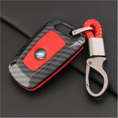 Carbon Fiber Shell Red Silicone Protector Remote Key Holder For BMW A Style
