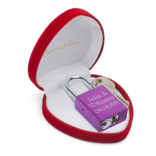 LUXUS Liebesschloss LILA in HERZ BOX Valentinstag Jahrestag Geburtstag Geschenk