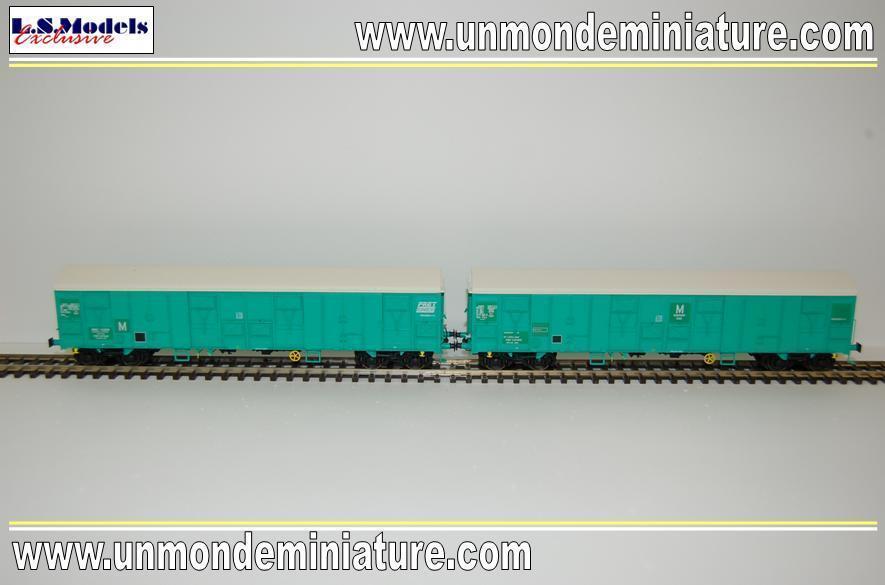 Set de 2 Wagons Uass H49-6 Vert Fret LS MODELS - LSM 30334 - Echelle 1/87