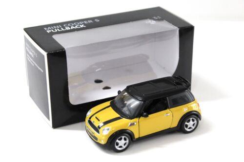 1:36 maisto mini cooper s pullback Yellow dealer New en Premium-modelcars