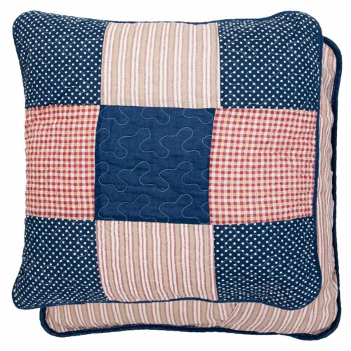 Funda de almohada 100/% algodón patchwork 50x50 azul marino rojo Cottage funda de almohada