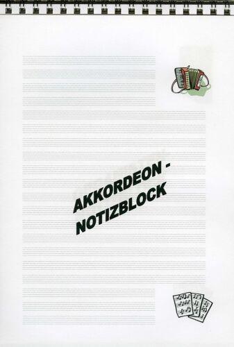 Notizblock Akkordeon Block Tasteinstrumente Musik 1-er//2-er//3-er oder 10-er-Pack